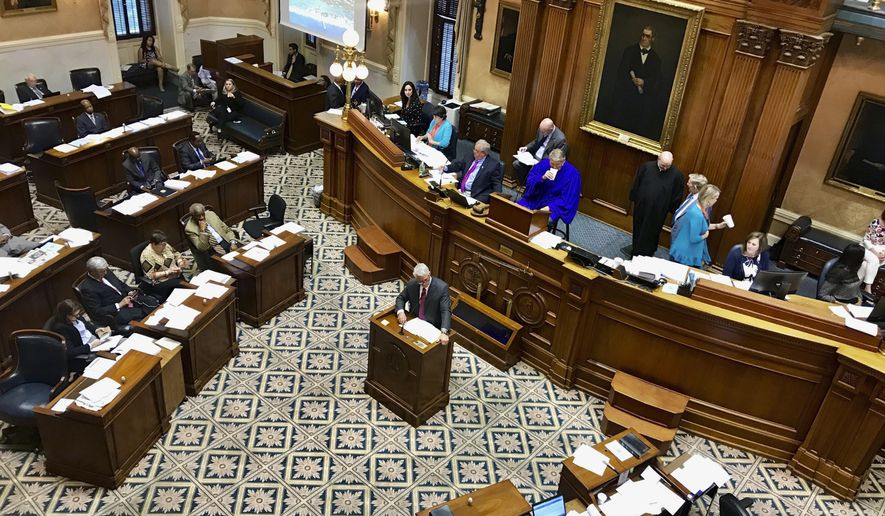 Members of the South Carolina Senate debate the states nearly $9 billion spending plan which includes raises for teachers, state workers and some members of the South Carolina judicial system, in Columbia, S.C., Wednesday, April 17, 2019. Lawmakers spent several hours introducing and discussing new proposals into the budget. (AP Photo/Christina Myers)