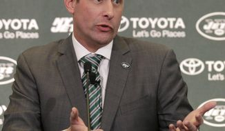 FILE - In this Jan. 14, 2019, file photo, New York Jets NFL football head coach Adam Gase gestures while speaking during a news conference in Florham Park, N.J. C.J. Mosley says Gase's message in the team's first meeting last week was that the goal is to beat New England in the AFC East. (AP Photo/Seth Wenig, File)