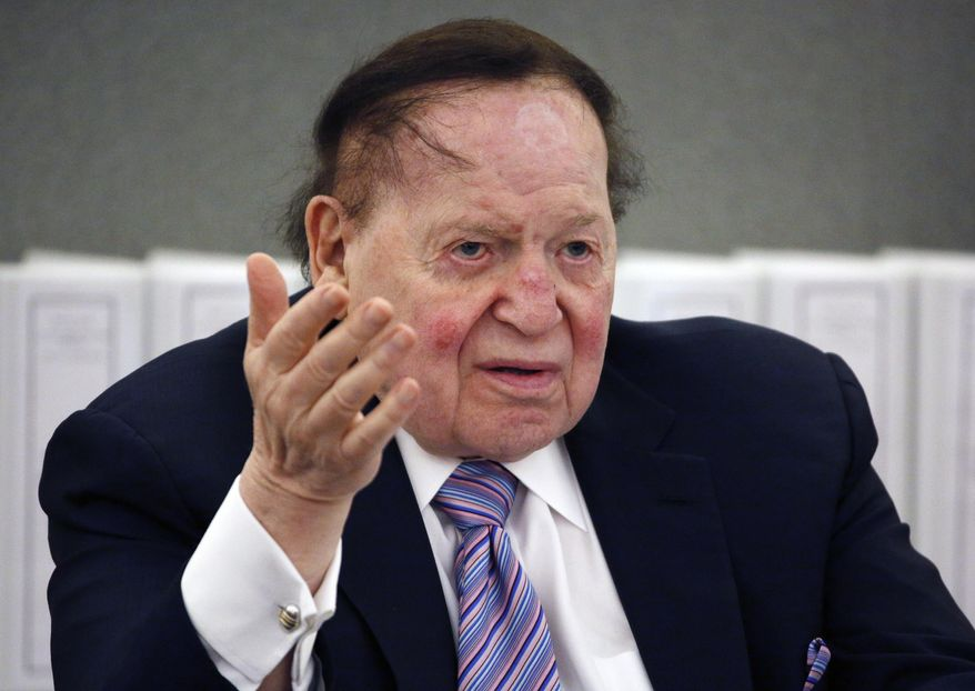 In this May 4, 2015, file photo, Las Vegas Sands Corp. Chairman and CEO Sheldon Adelson speaks in Las Vegas. (AP Photo/John Locher, File)