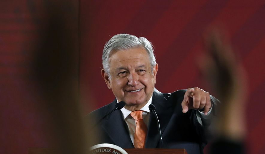 In this April 9, 2019. file photo, Mexican President Andres Manuel Lopez Obrador answers questions from journalists at his daily 7 a.m. press conference at the National Palace in Mexico City.  (AP Photo/Marco Ugarte, File) **FILE**
