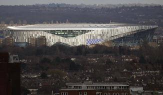 FILE - In this Feb. 20, 2019, file photo, the new Tottenham Hotspur stadium in north London is viewed. The NFC champion Los Angeles Rams will host Cincinnati in London for one of five international games on the 2019 schedule.The Rams and Bengals will face off at Wembley Stadium on Oct. 27. Earlier in October, the league will play two games at Tottenham Hotspur's new stadium in London. The Raiders will host the Bears on Oct. 6, and the Buccaneers will be the home team against the Panthers on Oct. 13. (AP Photo/Matt Dunham, File)