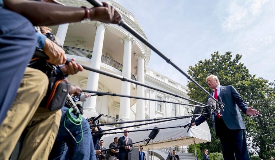 """President Trump has another go around with the press during a recent appearance at the White House. Some critics are saying that """"fake news"""" now has been joined by """"false narratives"""" as well. (Associated Press)"""
