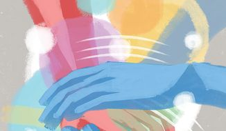 Illustration on the heart of helping others by Linas Garsys/The Washington Times