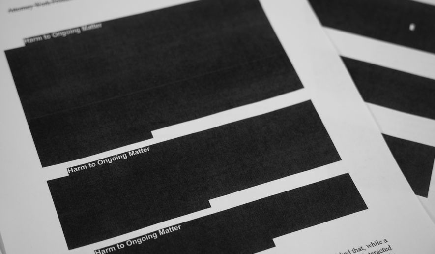 Nearly half of the redactions in the special counsel's report appear to be where prosecutors wanted to shield ongoing cases that spun out of Robert Mueller's work but were apparently not central to his mandate to investigate Russia's election-meddling and whether President Trump obstructed the ensuing probe. (Associated Press)