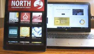 This undated photo shows the church application screen for North Parkersburg Baptist Church in Parkersburg, W.Va. Several churches within the Parkersburg/Vienna area have apps. Among those are The Rock, Warehouse Church and North Parkersburg Baptist. The church app is part of the technology to adapt to members daily digital diet. (Jeff Baughan/News and Sentinel via AP)