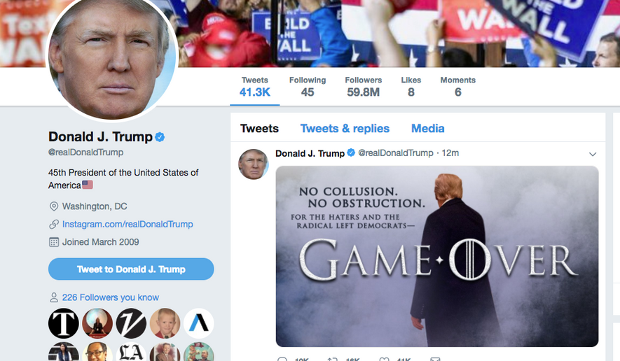 President Trump's 'Game Over' tweet.