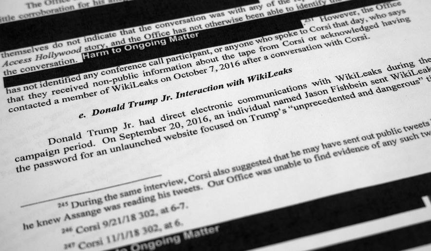 Special counsel Robert Mueller's redacted report on Russian interference in the 2016 presidential election as released on Thursday, April 18, 2019, is photographed in Washington. The section discusses Donald Trump Jr. interaction with WikiLeaks. (AP Photo/Jon Elswick)