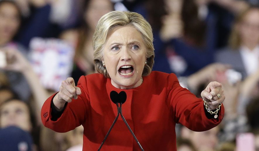 In this Nov. 8, 2016, file photo, then-Democratic presidential candidate Hillary Clinton speaks during a campaign rally in Raleigh, N.C. (AP Photo/Gerry Broome, File)