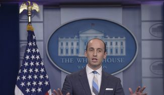 In this Aug. 2, 2017, file photo, White House senior policy adviser Stephen Miller speaks during the daily briefing at the White House in Washington. (AP Photo/Susan Walsh, File) **FILE**