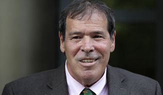 In this Sept. 7, 2018, file photo, New York radio host Randy Credico speaks to members of the media after appearing before the grand jury hearing evidence in special counsel Robert Mueller's investigation of Russian interference in the 2016 presidential election in Washington. Credico is an associate of Roger Stone, who was an adviser to President Donald Trump. (AP Photo/Jacquelyn Martin, File) **FILE**