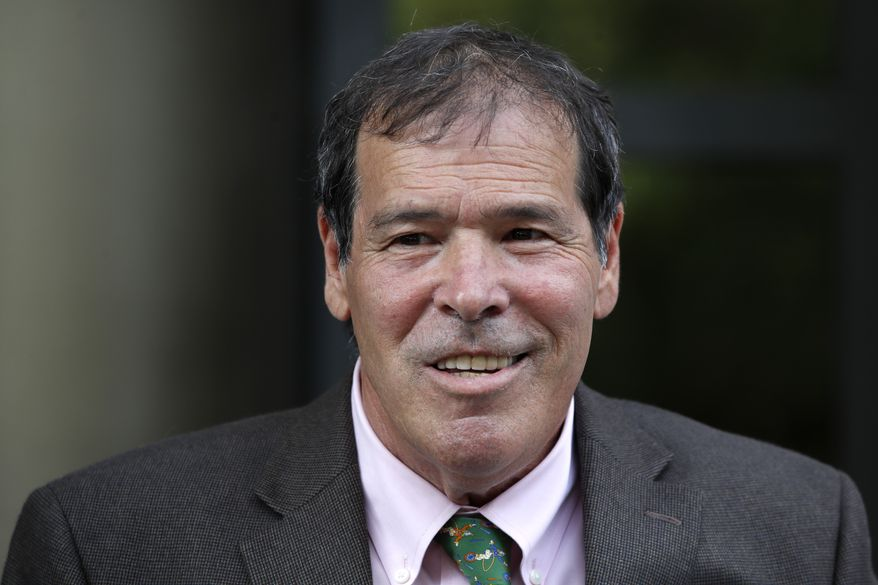 In this Sept. 7, 2018, file photo, New York radio host Randy Credico speaks to members of the media after appearing before the grand jury hearing evidence in special counsel Robert Mueller's investigation of Russian interference in the 2016 presidential election in Washington. Credico is an associate of Roger Stone, who was an adviser to President Donald Trump. (AP Photo/Jacquelyn Martin, File)