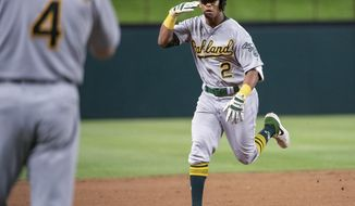 Oakland Athletics' Khris Davis (2) salutes third base coach Matt Williams (4) as he nears third on a solo home run off Texas Rangers relief pitcher Chris Martin during the eighth inning of a baseball game Friday, April 12, 2019, in Arlington, Texas. Oakland won 8-6. (AP Photo/Jeffrey McWhorter)