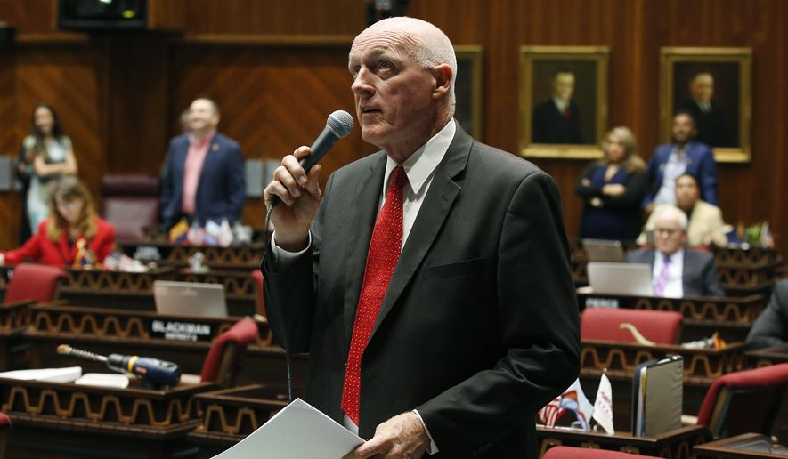Arizona House Speaker Rusty Bowers, R-Mesa, offers up an amendment as lawmakers debate among three proposed laws that are designed to deal with distracted driving caused by cellphone use on the floor of the House of Representatives at the Arizona Capitol Thursday, April 18, 2019, in Phoenix. (AP Photo/Ross D. Franklin)