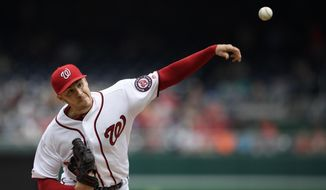 Washington Nationals starting pitcher Patrick Corbin delivers a pitch during the fifth inning of a baseball game against the San Francisco Giants, Thursday, April 18, 2019, in Washington. (AP Photo/Nick Wass)