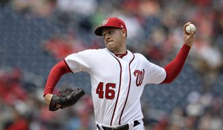 Washington Nationals starting pitcher Patrick Corbin delivers a pitch during the third inning of a baseball game against the San Francisco Giants, Thursday, April 18, 2019, in Washington. (AP Photo/Nick Wass)
