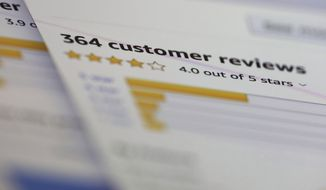 In this Wednesday, April 17, 2019, photo online customer reviews for a product are displayed on a computer in New York. Many online purchases are based on careful consideration of star ratings and product reviews left by complete strangers. Some 82% of U.S. adults say they at least sometimes read online customer ratings or reviews before purchasing items for the first time, according to a 2016 Pew Research Center survey. (AP Photo/Jenny Kane)