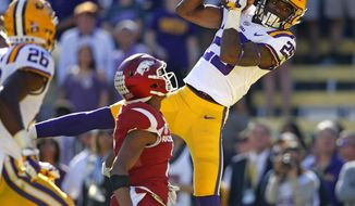"""FILE - In this Nov. 11, 2017, file photo, LSU cornerback Andraez """"Greedy"""" Williams (29) pulls in an interception in the end zone late in the second half of an NCAA college football game against Arkansas in Baton Rouge, La. Williams is a possible pick in the 2019 NFL Draft. (AP Photo/Gerald Herbert, File)"""