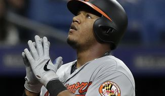 Baltimore Orioles' Pedro Severino celebrates as he crosses home plate after his home run off Tampa Bay Rays relief pitcher Jalen Beeks during the fourth inning of a baseball game Thursday, April 18, 2019, in St. Petersburg, Fla. (AP Photo/Chris O'Meara) ** FILE **
