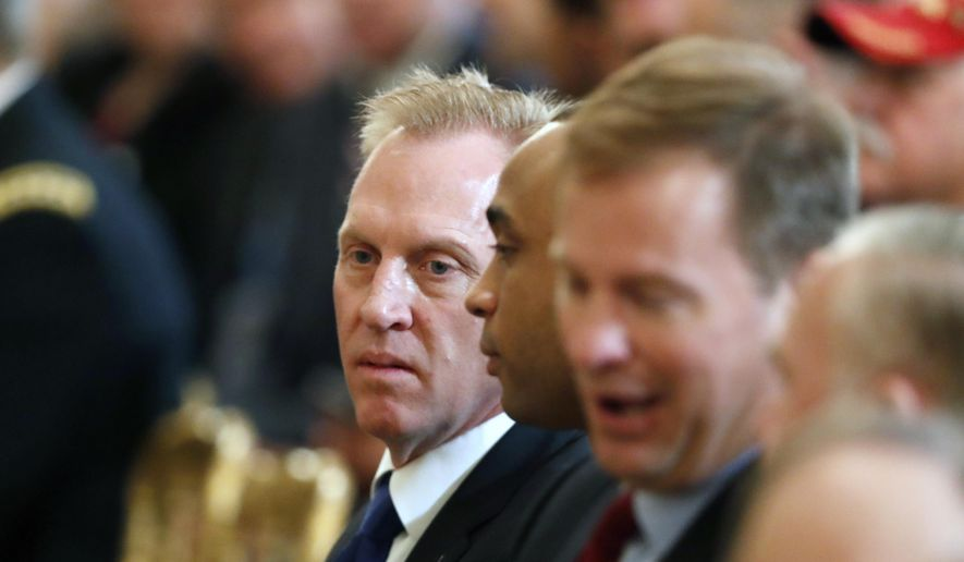 Acting Defense Secretary Patrick Shanahan is seated before a Wounded Warrior Project Soldier Ride event in the East Room of the White House, Thursday, April 18, 2019, in Washington. (AP Photo/Pablo Martinez Monsivais)