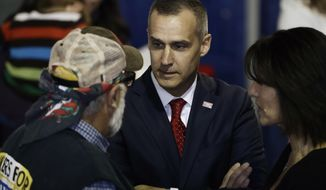 In this Oct. 24, 2018, file photo, Corey Lewandowski talks at a campaign event with Vice President Mike Pence for Rep. Lloyd Smucker, R-Pa., and Rep. Scott Perry, R-Pa., in Lititz, Pa. (AP Photo/Matt Rourke, File) **FILE**
