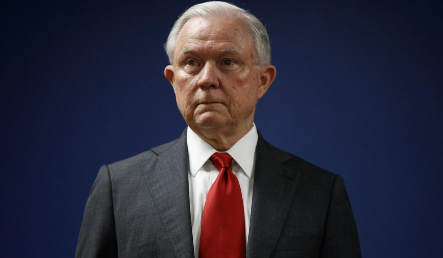 Attorney General Jeff Sessions pauses during a news conference at the U.S. Attorney's Office for the District of Columbia in Washington. (AP Photo/Carolyn Kaster, File)