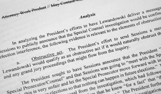 Special counsel Robert Mueller's redacted report on the investigation into Russian interference in the 2016 presidential election is photographed Thursday, April 18, 2019, in Washington. (AP Photo/Jon Elswick)