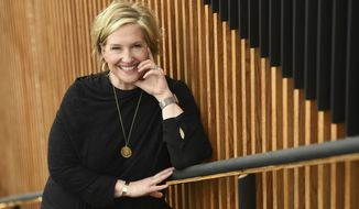 """Research professor Brene Brown, star of the Netflix special """"Brene Brown: The Call to Courage,"""" poses for a portrait at Netflix's Hollywood offices, Tuesday, April 16, 2019, in Los Angeles. (Photo by Chris Pizzello/Invision/AP)"""
