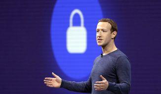 Facebook CEO Mark Zuckerberg delivers the keynote speech at F8, Facebook's developer conference, in San Jose, California, May 1, 2018. (AP Photo/Marcio Jose Sanchez) ** FILE **