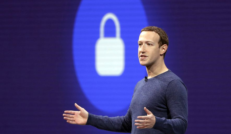 Facebook CEO Mark Zuckerberg delivers the keynote speech at F8, Facebook's developer conference, in San Jose, California, May 1, 2018. (AP Photo/Marcio Jose Sanchez) ** FILE **