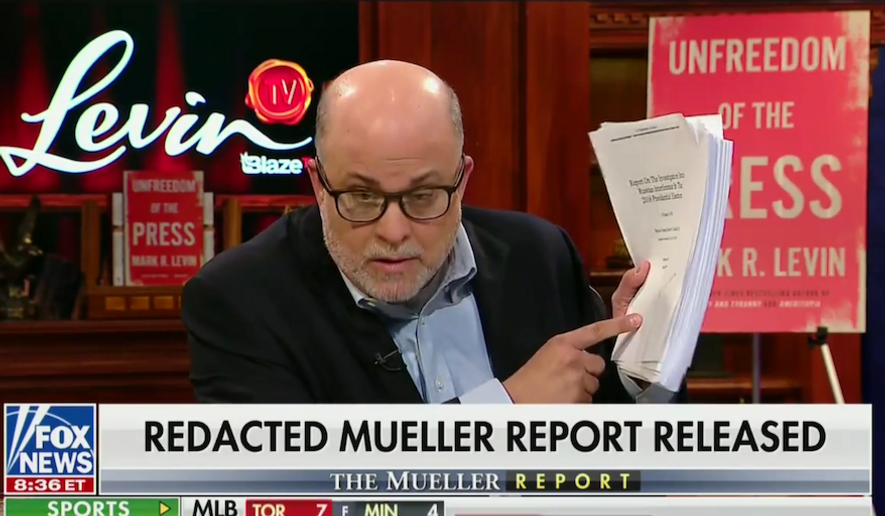 "Radio host Mark Levin discusses special counsel Robert Mueller's report on ""Fox and Friends,"" April 19, 2019. (Image: Fox News screenshot)"