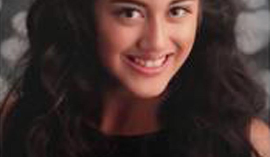This undated photo released by the Los Angeles County Sheriff's Office shows Alora benitez, 15, as they seek the public's help in locating her.  Authorities believe she may be with her mother and a man who investigators say are suspects in a Southern California homicide investigation.  Benitez was last seen Wednesday, April 17, 2019.  (Los Angeles County Sheriff's Office via AP)