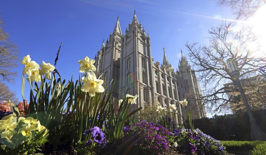 The Salt Lake Temple is shown Friday, April 19, 2019, in Salt Lake City. The iconic temple central to The Church of Jesus Christ of Latter-day Saints faith will close for four years to complete a major renovation, and officials are keeping a careful eye on construction plans after a devastating fire at Notre Dame cathedral in Paris. Church President Russell M. Nelson said Friday the closure will begin in December. (AP Photo/Rick Bowmer)