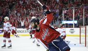 Washington Capitals right wing Brett Connolly celebrates his goal during the second period of Game 5 of an NHL hockey first-round playoff series against the Carolina Hurricanes, Saturday, April 20, 2019, in Washington. (AP Photo/Nick Wass)