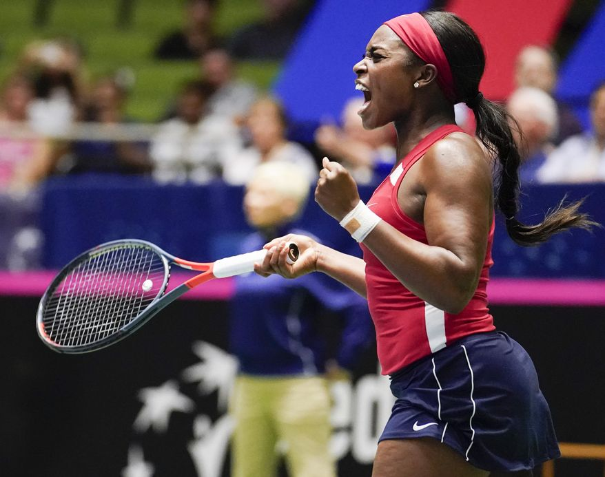 United States' Sloane Stephens reacts after defeating Switzerland's Timea Bacsinszky during their playoff-round Fed Cup tennis match, Saturday, April 20, 2019, in San Antonio. (AP Photo/Darren Abate)