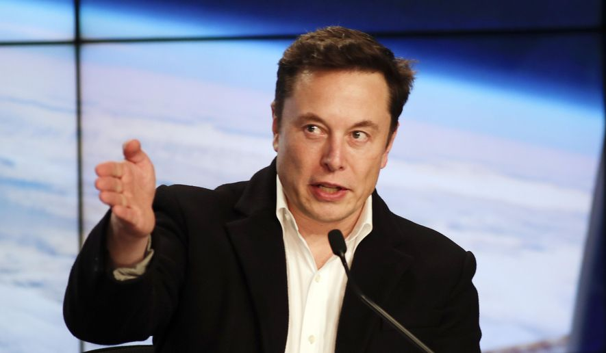 In this March 2, 2019, file photo, Elon Musk, CEO of SpaceX, speaks during a news conference after the SpaceX Falcon 9 Demo-1 launch at the Kennedy Space Center in Cape Canaveral, Fla. (AP Photo/John Raoux)