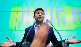 """""""To all the countries of the former Soviet Union — look at us, everything is possible,"""" said Volodymyr Zelenskiy, in his victory speech. On TV, Mr. Zelenskiy portrays a teacher who denounces corruption and becomes president. (Associated Press)"""
