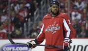 Washington Capitals right wing Devante Smith-Pelly (25) stands on the ice during the first period of Game 5 of an NHL hockey first-round playoff series against the Carolina Hurricanes, Saturday, April 20, 2019, in Washington. (AP Photo/Nick Wass) ** FILE **