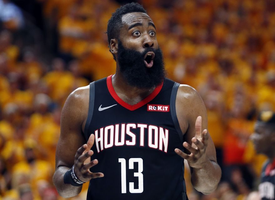 Houston Rockets guard James Harden (13) reacts after a foul in the second half during an NBA basketball game against the Utah Jazz Saturday, April 20, 2019, in Salt Lake City. (AP Photo/Rick Bowmer)