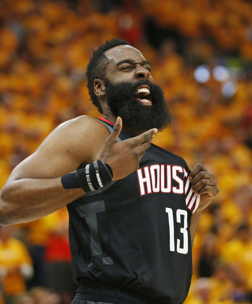 Houston Rockets guard James Harden (13) reacts after a foul in the first half during an NBA basketball game against the Utah Jazz Saturday, April 20, 2019, in Salt Lake City. (AP Photo/Rick Bowmer) **FILE**