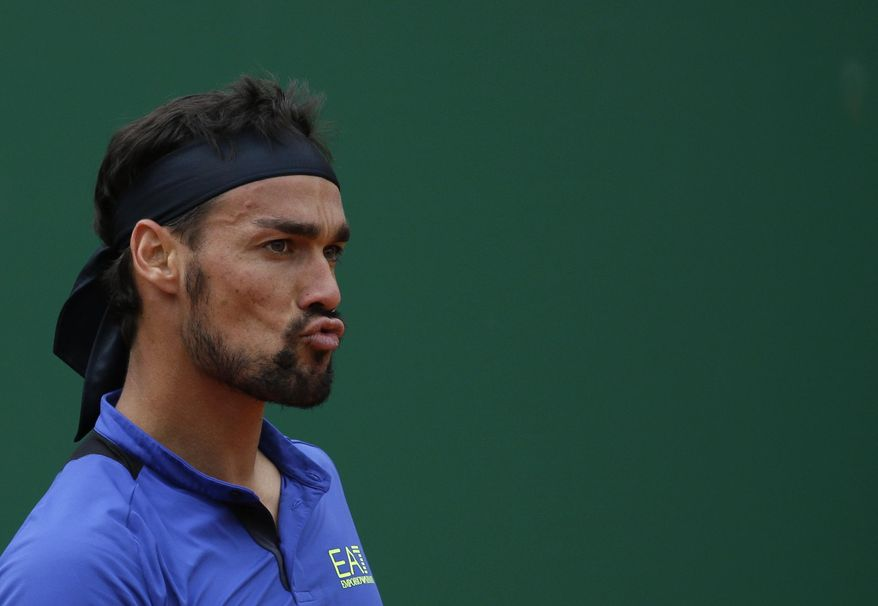 Italy's Fabio Fognini grimaces during the men's singles final match of the Monte Carlo Tennis Masters tournament against Serbia's Dusan Lajovic in Monaco, Sunday, April, 21, 2019. (AP Photo/Claude Paris)