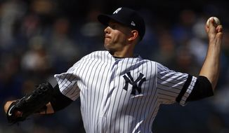 New York Yankees pitcher James Paxton delivers a pitch during the seventh inning of a baseball game against the Kansas City Royals on Sunday, April 21, 2019, in New York. (AP Photo/Adam Hunger)