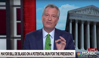 "New York City Mayor Bill de Blasio talks about environmental initiatives on MSNBC's ""Morning Joe,"" April 22, 2019. (Image: MSNBC screenshot)"
