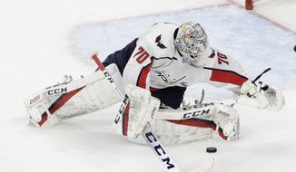 Washington Capitals Braden Holtby (70) defends the net against the Carolina Hurricanes during the third period of Game 6 of an NHL hockey first-round playoff series in Raleigh, N.C., Monday, April 22, 2019. Carolina won 5-2. (AP Photo/Gerry Broome) ** FILE **