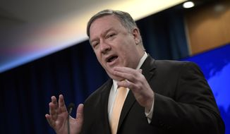 Secretary of State Mike Pompeo speaks during a news conference on Monday, April 22, 2019, at the Department of State in Washington. The Trump administration on Monday told five nations — Japan, South Korea, Turkey, China and India — that they will no longer be exempt from U.S. sanctions if they continue to import oil from Iran.  (AP Photo/Sait Serkan Gurbuz)