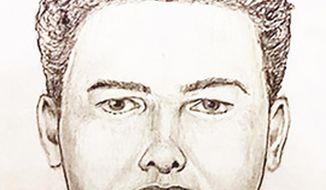 """In this undated police artist sketch provided by the Indiana State Police is the new """"face"""" of the Delphi Murder suspect Monday, April, 22, 2019. Authorities have released video of a man suspected of killing two Indiana teenagers two years ago and urged the public to scrutinize the footage, which shows the man walking on an abandoned railroad bridge the girls visited while out hiking the day they were killed. The State Police also released a new sketch of the suspect, which Superintendent Doug Carter says was produced thanks to """"new information"""" collected during the investigation into the killings of Liberty German and Abigail Williams. (Indiana State Police via AP)"""