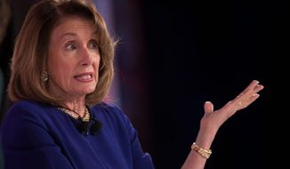 """""""I do believe that impeachment is one of the most divisive paths that we could go down to in our country, but if the fact-finding takes us there we have no choice, but we are not there yet,"""" said House Speak Nancy Pelosi. (Associated Press)"""