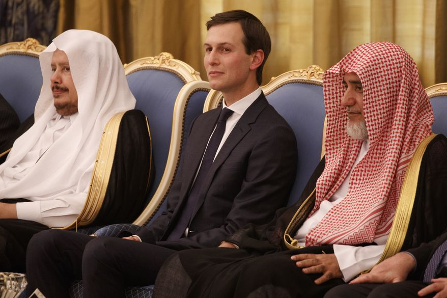 White House senior adviser Jared Kushner watches a ceremony where President Donald Trump was presented with The Collar of Abdulaziz Al Saud Medal, at the Royal Court Palace, Saturday, May 20, 2017, in Riyadh. (AP Photo/Evan Vucci) ** FILE **