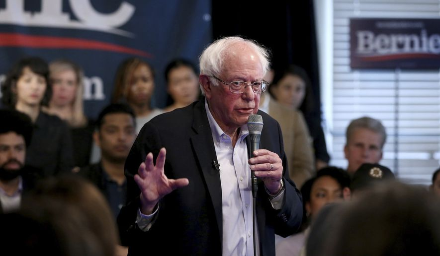 Democratic presidential candidate Sen. Bernie Sanders, I-Vt., speaks during an appearance at Club Passim on Tuesday, April 23, 2019, in Cambridge, Mass. (Nancy Lane/The Boston Herald via AP)