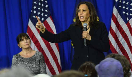Democratic presidential Candidate Sen. Kamala Harris, D-Calif., speaks at Keene State College in Keene, N.H., Tuesday, April 23, 2019. (Kristopher Radder/The Brattleboro Reformer via AP) **FILE**