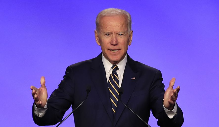 In this April 5, 2019, file photo, former Vice President Joe Biden speaks at the International Brotherhood of Electrical Workers construction and maintenance conference in Washington. (AP Photo/Manuel Balce Ceneta)